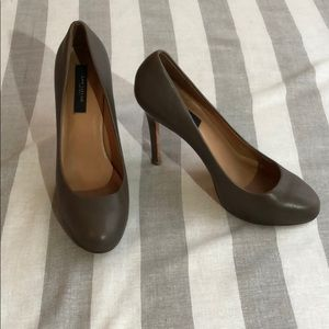 Ann Taylor leather rounded toe gray high heels